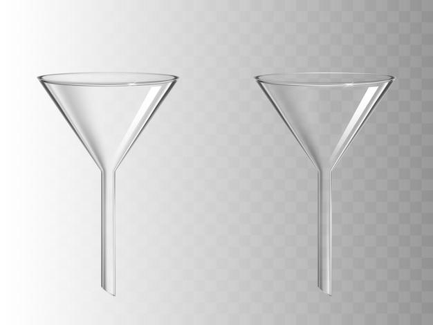 透明で分離されたガラス漏斗