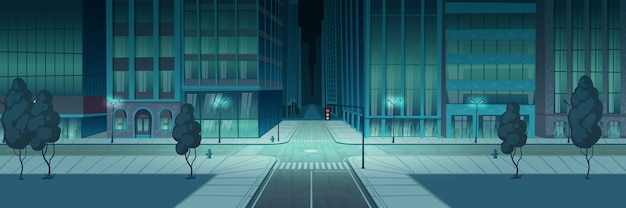 交差点の夜の街、空の交通交差点バナー