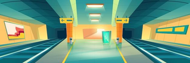 地下鉄駅、空の地下鉄プラットフォームバナー