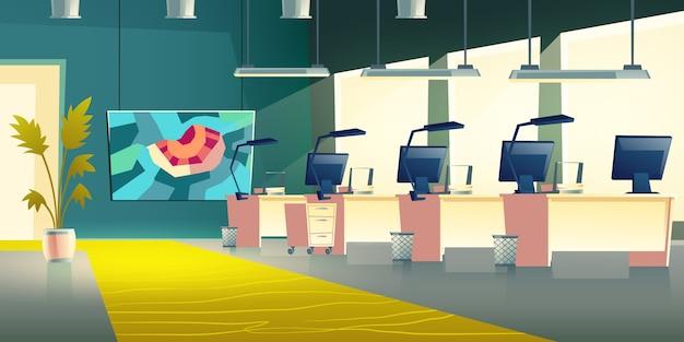 現代の会社のオフィスホールのインテリア