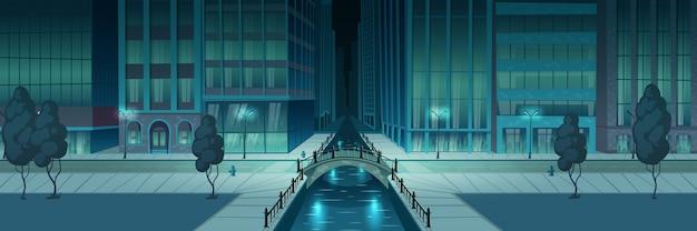 市の夜の堤防バナー