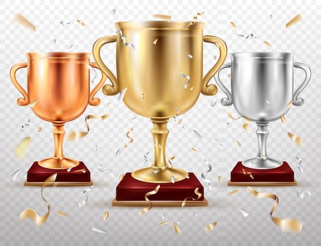 Золотые и серебряные кубки, спортивный трофей, кубки слава