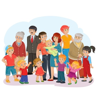 Вектор большая счастливая семья - прадед, прабабушка, дедушка, бабушка, папа, мама, дочери и сыновья