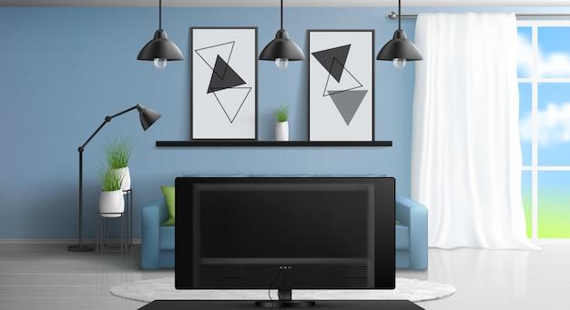 Интерьер гостиной с диваном перед телевизором