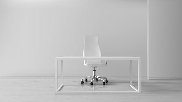 Пустой интерьер комнаты офиса, рабочее место с письменным столом