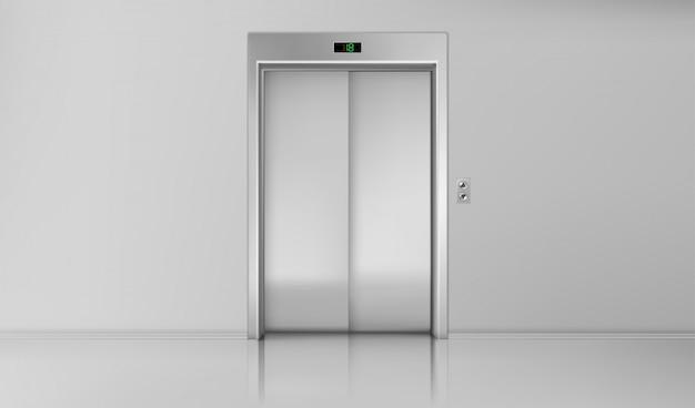Двери лифта, закрытые хромированные лифты, вход в кабину