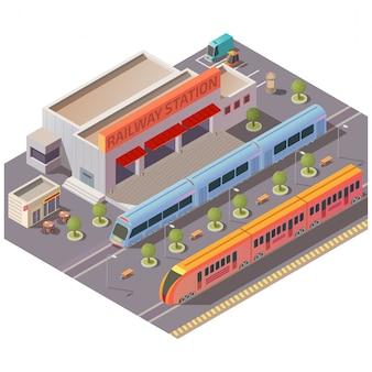 Железнодорожная станция экстерьера изолированных изометрические вектор