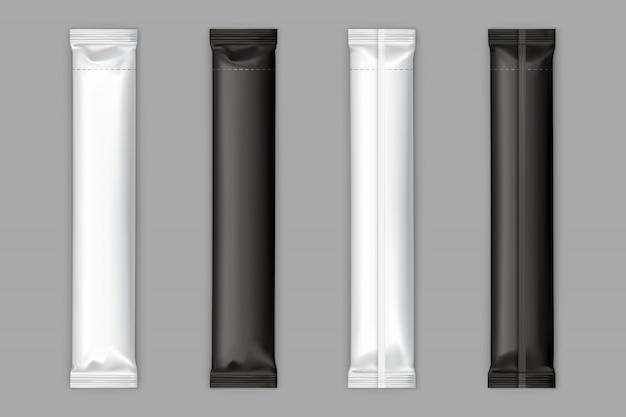黒、白の砂糖小袋スティックベクトルモックアップ