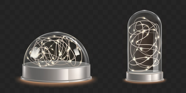 Стеклянные купола с легкой гирляндой. рождественский сувенир