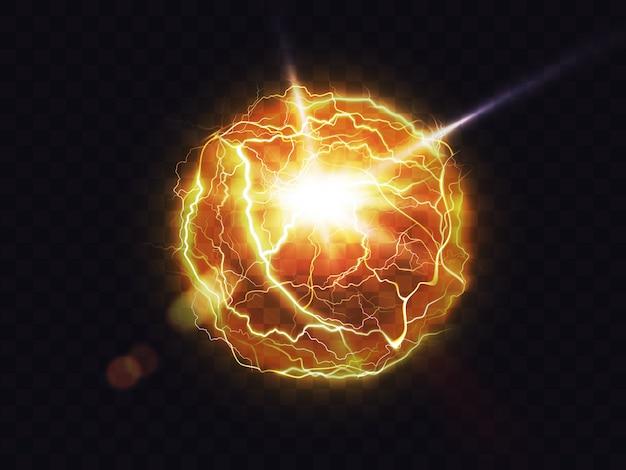 Электрический шар, молния огненный шар, вспышка энергии