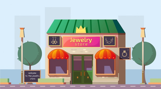 Малый ювелирный магазин строит мультфильм вектор