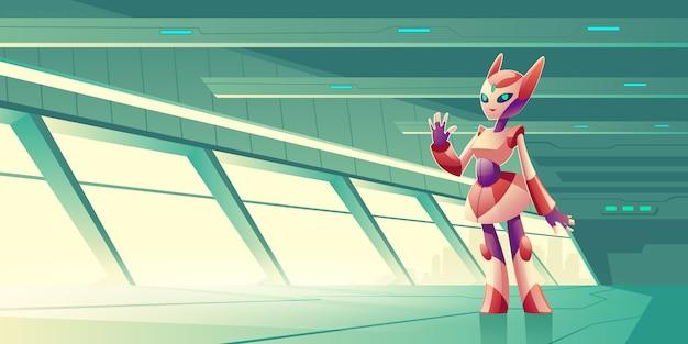 Чужой робот приветствует гостей на космическом корабле вектор