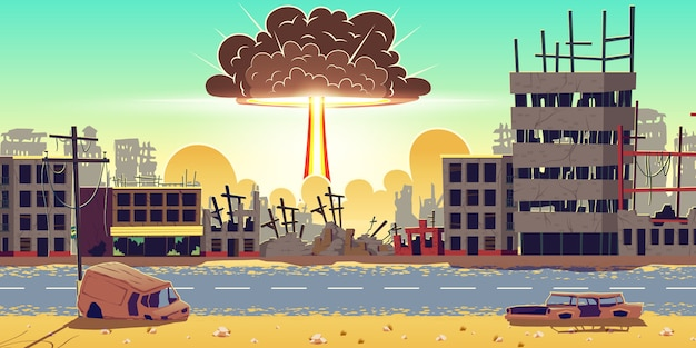 Взрыв ядерной бомбы в разрушенном городе вектор