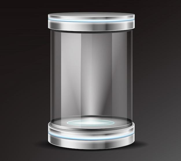 Продукт экспонат стеклянный контейнер реалистичный вектор