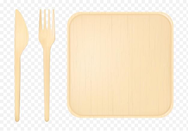 フォークとナイフの上面図のクリップアートと木製プレート