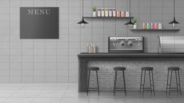 モダンなカフェ、コーヒーショップの現実的なベクトルのインテリア