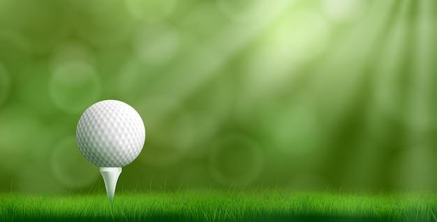 Мяч для гольфа на тройнике реалистичные векторные иллюстрации