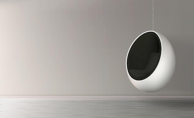 Висит на цепочке яйцо кресло реалистичный вектор