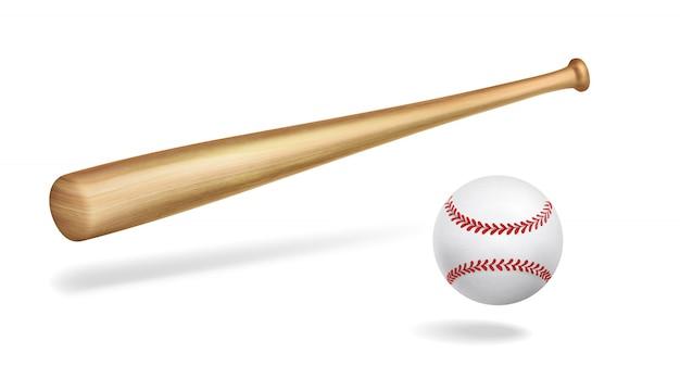 Деревянная бейсбольная бита и мяч реалистичный вектор