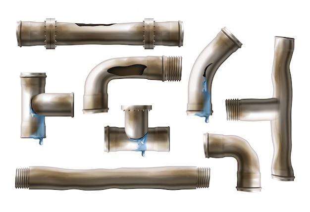 Поврежденные ржавые стальные трубы реалистичные вектор набор