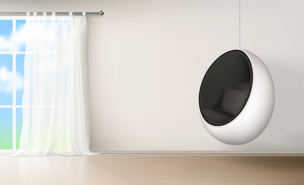 Яичный стул в интерьере комнаты реалистичный вектор