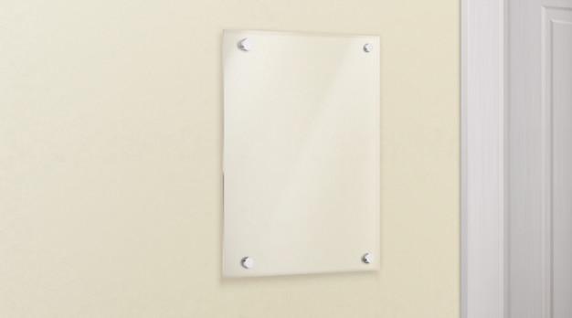 Стеклянная метакрилатная пластина на стене реалистичный вектор