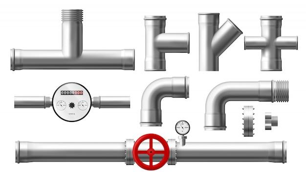 水カウンター、圧力調整器、金属パイプ