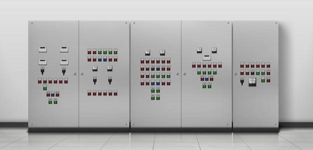 Оборудование электрика, реалистичная иллюстрация комнаты генератора