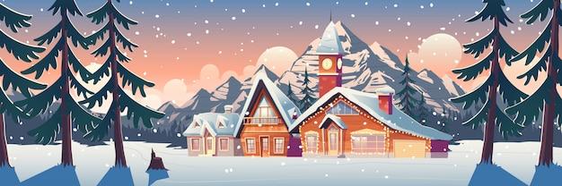 家やシャレーのイラストと冬の山の風景
