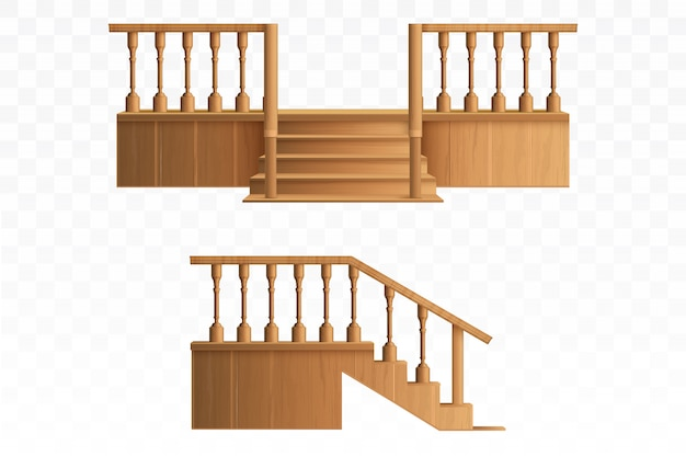 木製の手すりのデザイン要素からポーチ。