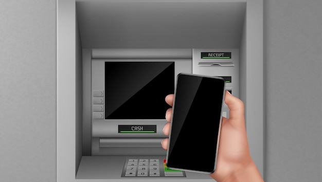 Банкомат и мобильный телефон в руке.
