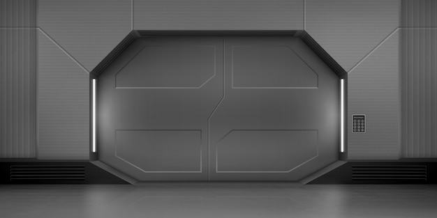 Металлические раздвижные двери в космическом корабле