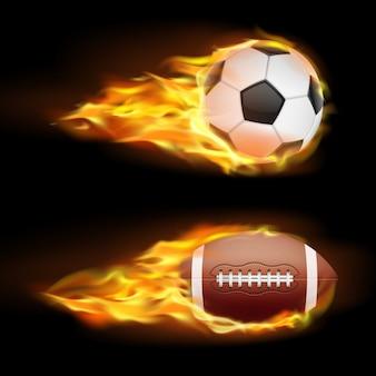 Векторный набор спортивных горящих шаров, мячей для футбола и американского футбола в огне в реалистичном стиле