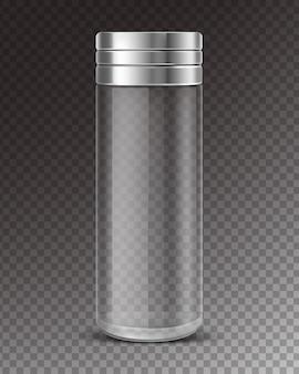 空のグラスシェーカーと金属キャップ