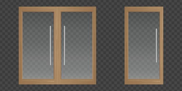 木製フレーム付きクリアガラスドア