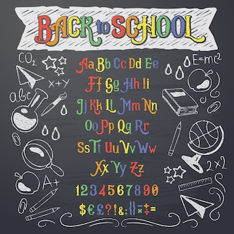 Векторная иллюстрация ретро-шрифта, заглавных букв, цифр и символов в белом и цветном меле