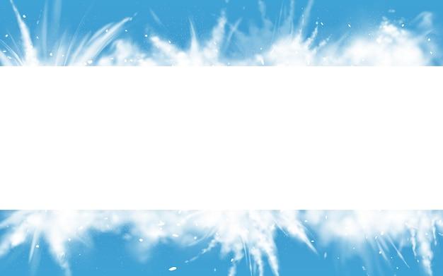 雪粉の白い爆発の四角形の境界線。