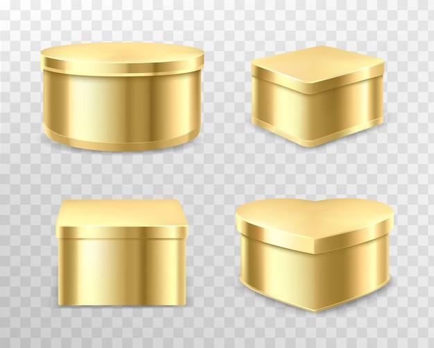 紅茶、コーヒー、お菓子用のゴールデンギフトブリキの箱