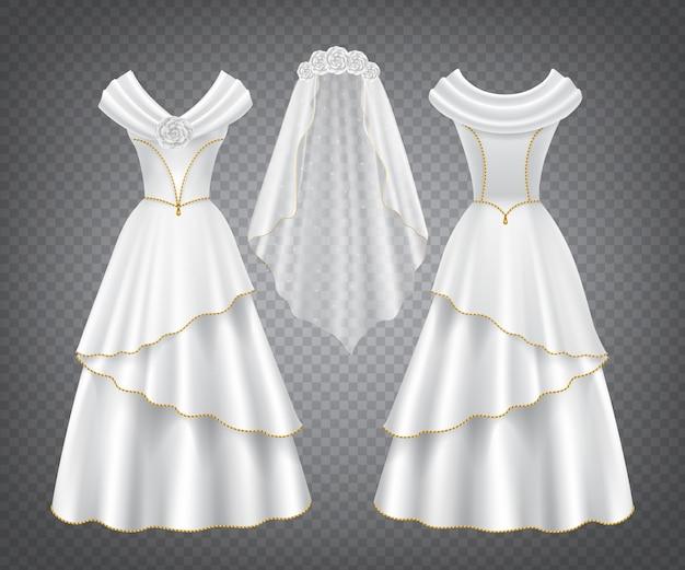 チュールベールと白いウェディング女性ドレス