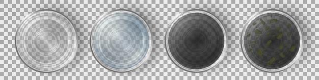 清潔で汚れた水トップビューセットとメガネ。