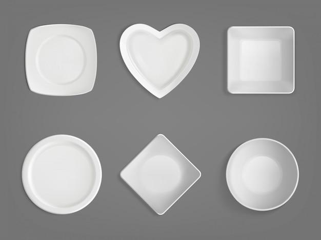 白いさまざまな形のボウル