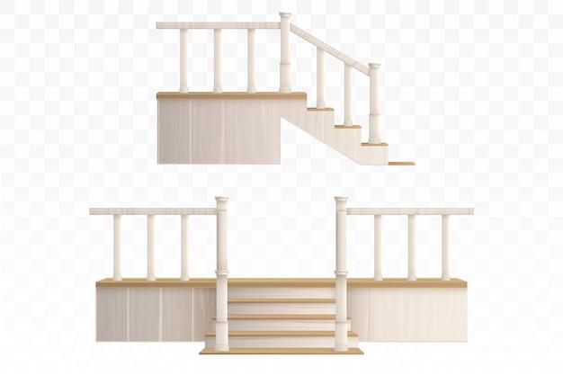 Лестница с деревянным крыльцом