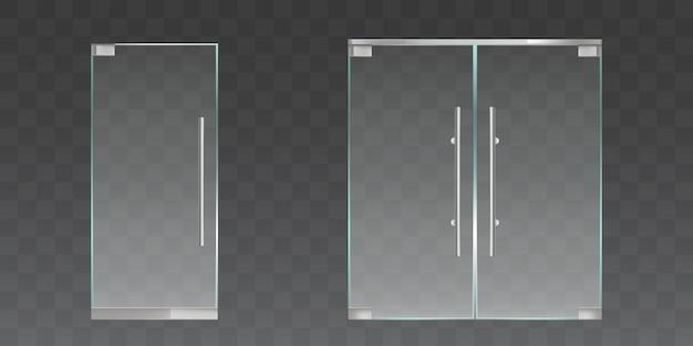Набор прозрачных стеклянных дверей