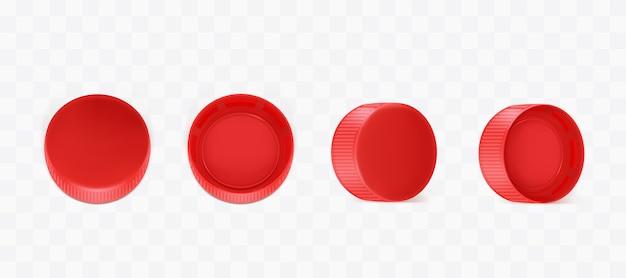 Векторные реалистичные красные пластиковые бутылочные крышки