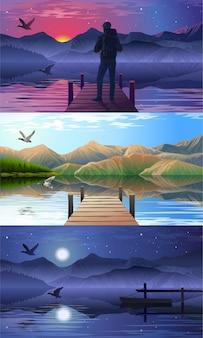 湖と桟橋の眺め