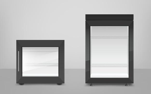 ガラスのドアと空の黒いミニ冷蔵庫