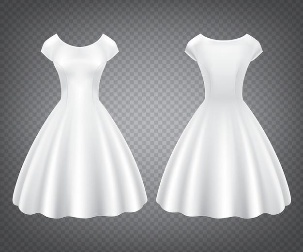 結婚式やパーティーのための白いレトロな女性のドレス
