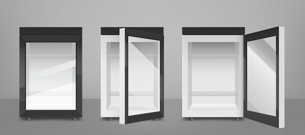 Черный мини-холодильник с прозрачной стеклянной дверцей