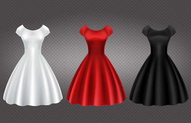 白、黒、赤のレトロな女性のカクテルドレス