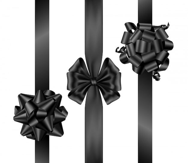 Черные бантики в пятницу с вертикальными лентами вид сверху